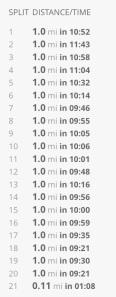 20 miler splits