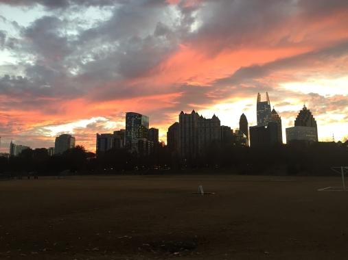 atlanta park skyline sunset